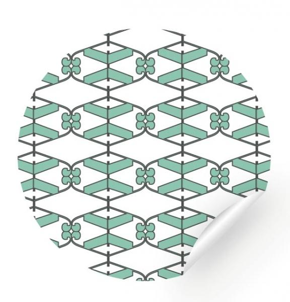 Sticker - with a mint and black pattern, 24 pieces